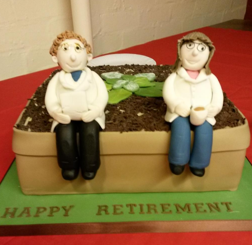 The cake for Jim Beynon and Vicky Buchanan-Wollaston's retirement